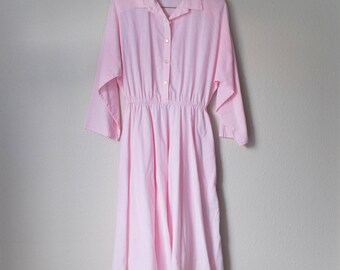 Vintage 70s 80s The American Shirt Dress Pink Large L Medium M