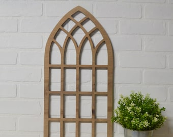 Tall Pointed Cathedral Window Frame Wood Cut Out