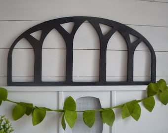 Curved Vintage Window Frame Wood Cut Out Wall Art Decor