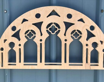 Detailed Wooden Arched Window Frame Cut Out Wall Decor