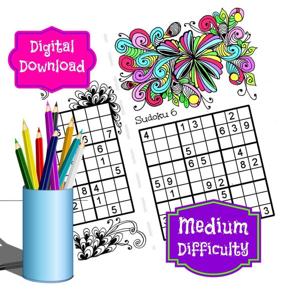 Printable Sudoku Puzzles Medium Difficulty Combined With Etsy