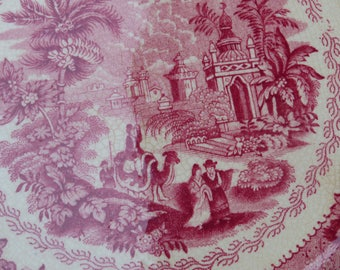 Vintage Oriental wall plate Petrus Regout pink Antique dutch transferware red white Holland