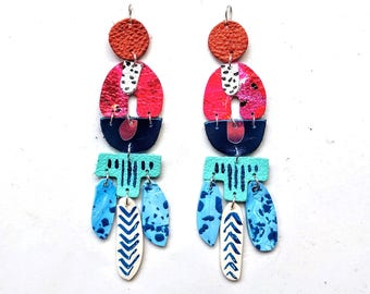 Abstract earrings /Polymer clay earrings/ Leather earrings/ Hand painted earrings/ Statement earrings/ Drop earrings/ Dangle earrings
