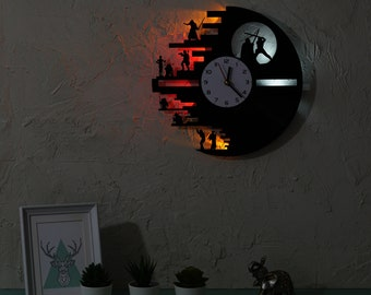 Star Wars wall clock, Vinyl record clock with bright LED lights, Death Star clock, Star wars room decoration, Gift for fan