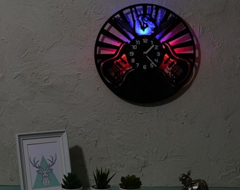 Wall clock Music, Guitars clock with LED backlight, Modern Rock vinyl record clock, Bright LED lights, Red and Blue room décor