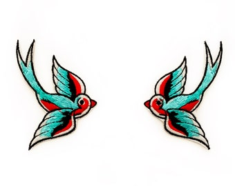 Swallow Pair of Patches - Bird Patches Gift for Her Swallows Patch for Clothes Rockabilly Clothing Birds Swallow Patch Vintage - Blue Patch