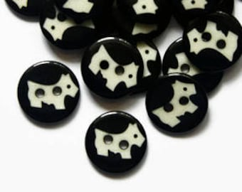 12 Buttons Dog - Scottie Dog Button 13mm - Puppies Buttons - Cute Animal Buttons - 13mm Round Buttons - Doggy Buttons - Silohuette Buttons