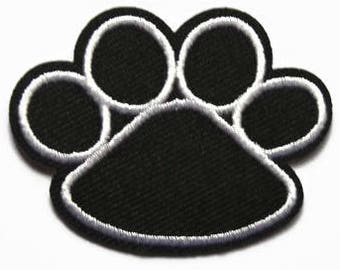 """Lot of Two 1/"""" wide Black White Dog Animal Paw Print Embroidery Patch"""