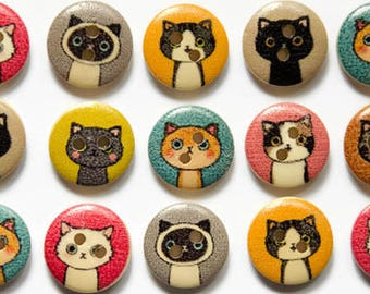 Cat Buttons (12 or 24) - Button Cats - Kittens - Animal Buttons - 15mm Round Buttons - Kitty Buttons - Cartoon Cat - Buttons Cute Animals