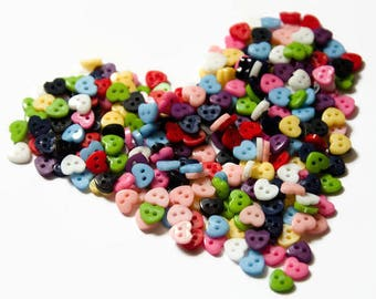 Tiny Heart Buttons (100 Buttons) - 6mm Buttons - Little Buttons Hearts - Mini Buttons - Doll Buttons - Heart Shaped Button - Hearts Plastic