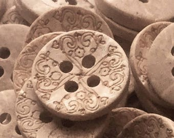 12 Natural Wood Buttons - 13mm Button - Brown Buttons - Small Coconut Shell Buttons - 4 Hole Buttons - 13mm Sewing Notions - Fancy Buttons