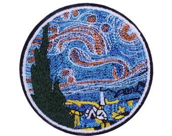 Van Gogh Patch Iron on Badge Impressionist Art Patch Starry Night Gift for Artist Student Van Gogh Art Art Lover Gift Embroidered Applique