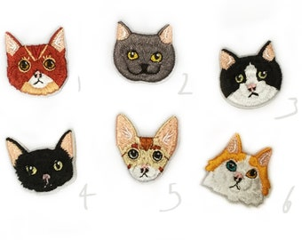 Cat Patch - 12 Options - Kitty Patches Gifts for Cat Lover Small Embroidered Patches - Tiny Badge - Cute Mini Animal Patch Iron On