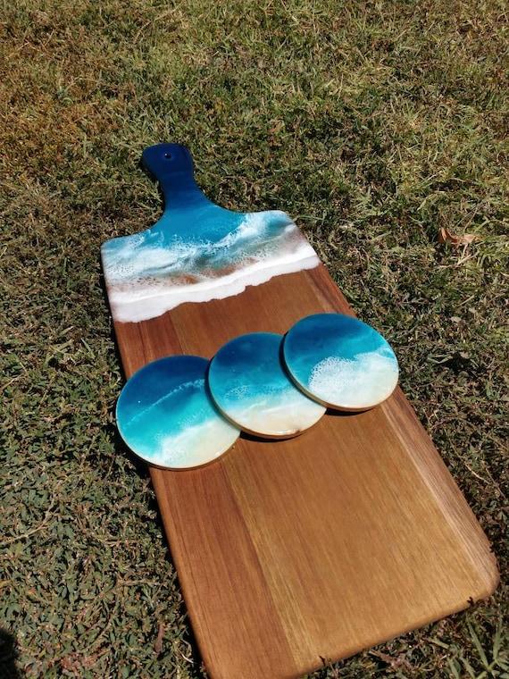 Handmade Ocean Resin Art Cheese Board Beach Look Wooden Chopping Board