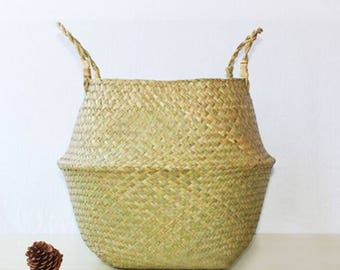 Natural Sea Grass Woven Foldable Belly Basket with Handle for Storage, Flower Plant Pot for Home Application