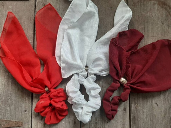 3 Vintage Scrunchie Scarf Ponytail Holders