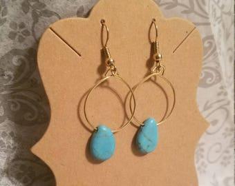 Blue Agate hooped earrings