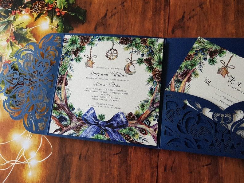 Lace Navy Pocket fold suite Laser cut Wedding Invitation image 1