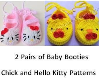 53133bbd7 2 Pairs of Crochet Baby Booties Patterns Hello Kitty and Chick Easy Crochet  Pattern Baby Shower Gifts + Free Baby Blanket Crochet Pattern