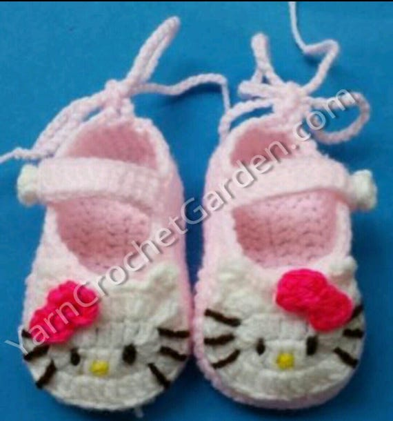 Crochet Pattern Hello Kitty Booties Guide Baby Shower Gifts Etsy