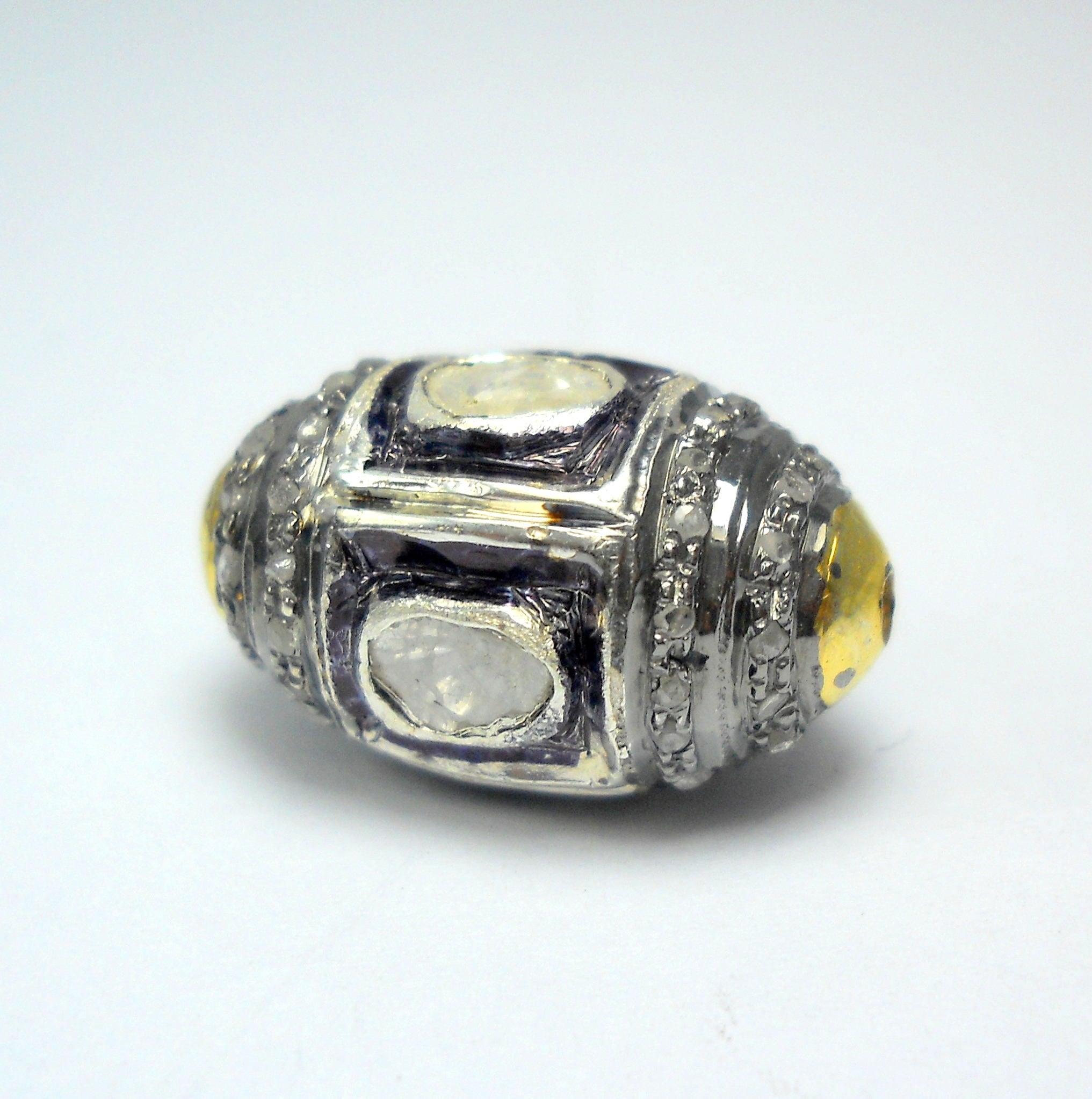 Victorian style Rose cut Pave diamond large polki diamond 17mm