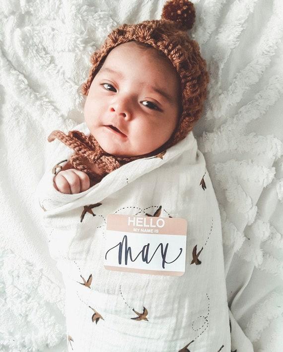 Baby Announcement Sticker Hello My Name Is Sticker Rainbow Baby Sticker Hello My Name Is Rainbow Baby Newborn Photo Sticker