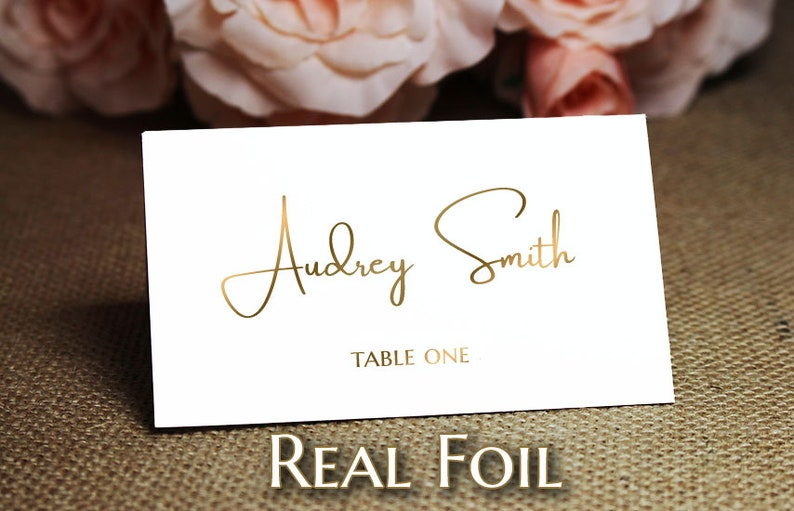 Ivory or Gray Paper Foil Wedding Place Cards on White or Rose Gold Place Cards with Real Foil Copper Gold Silver