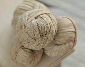 Honey Graham Stretch Knit Wrap, Neutral Stretch Knit Wrap, Newborn Photography Wrap, Newborn Photography Layers - RTS