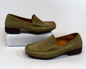 dab535b1c0a Cole Haan Country Vintage 90s Beige Taupe Suede Leather Loafers Size 6.5B