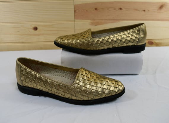 d20e2e486d6 Cole Haan Vintage Gold Woven Leather Flats Loafers Size 7.5AA