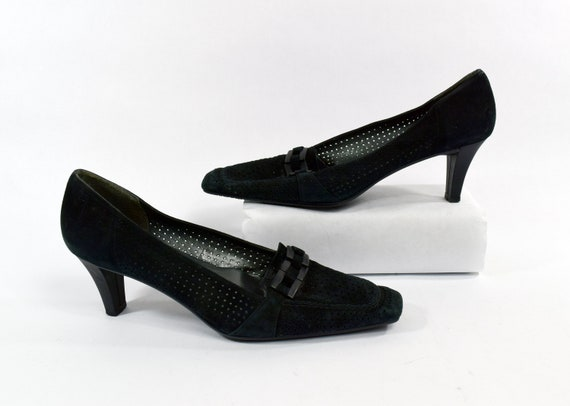 0617ddacd5a9a Stuart Weitzman Vintage 90s Black Suede Cutout Square Toe Pump Heels Size 8  Made in Spain