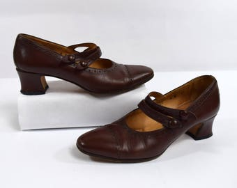 Cole Haan Vintage 80s Brogue Brown Leather Dual Strap Mary Jane Heels Size 6B Made in Italy