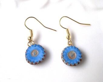 blue earrings, czech bead earrings, stad earrings, sky blue earrings, gift idea for her, gift idea for wife,