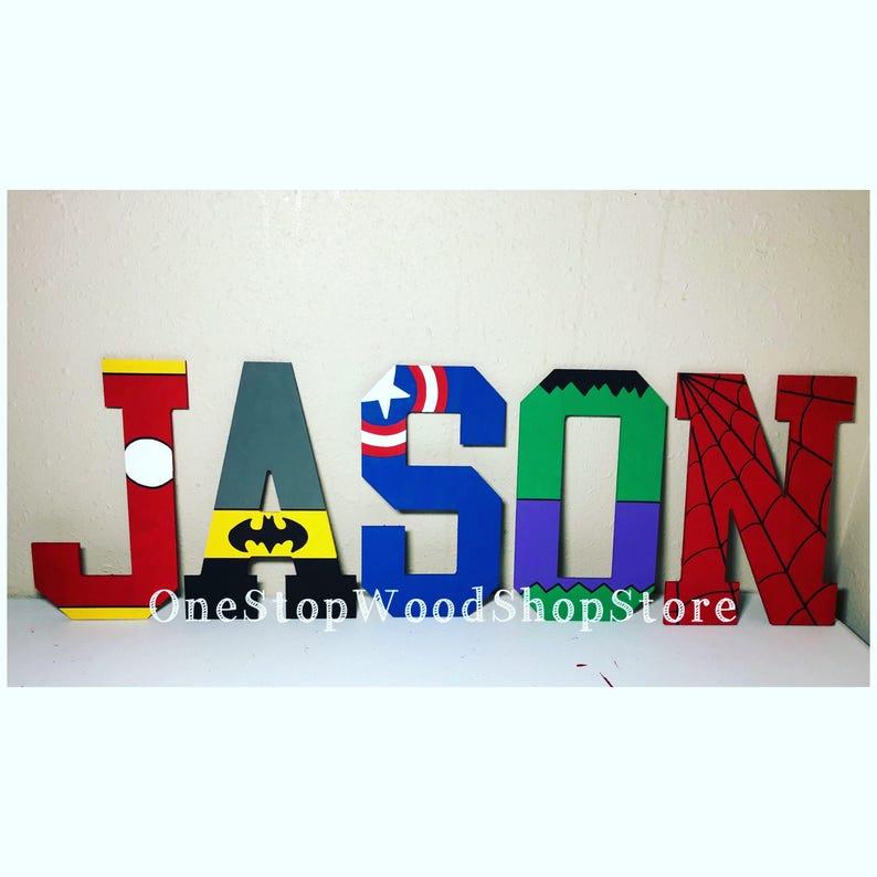 Superheld Buchstaben Kinderzimmer Buchstaben Wunderwerk | Etsy