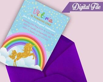 Unicorn Birthday Invitation, Magical Unicorn Invitation, Unicorn Birthday Party, Unicorn Party, Rainbow Unicorn Birthday Invitation, Digital