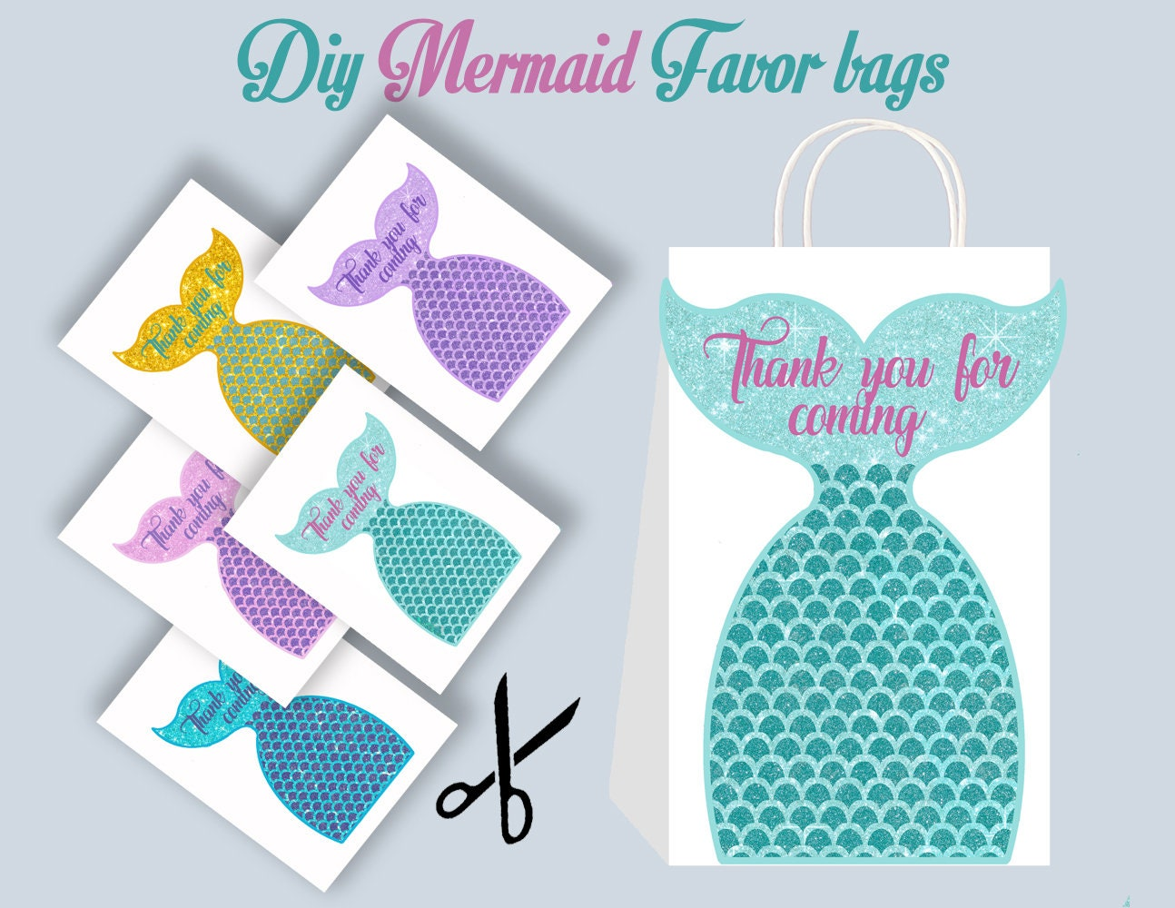 mermaid diy favor bag template mermaid party bags. Black Bedroom Furniture Sets. Home Design Ideas