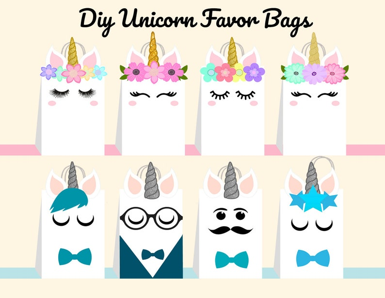 image about Printable Unicorn Template called Unicorn Do-it-yourself Prefer Bag Template, Unicorn Get together Luggage Printable, Unicorn Do it yourself Present Bag, Unicorn Birthday Printable, Electronic Documents (By yourself Print)