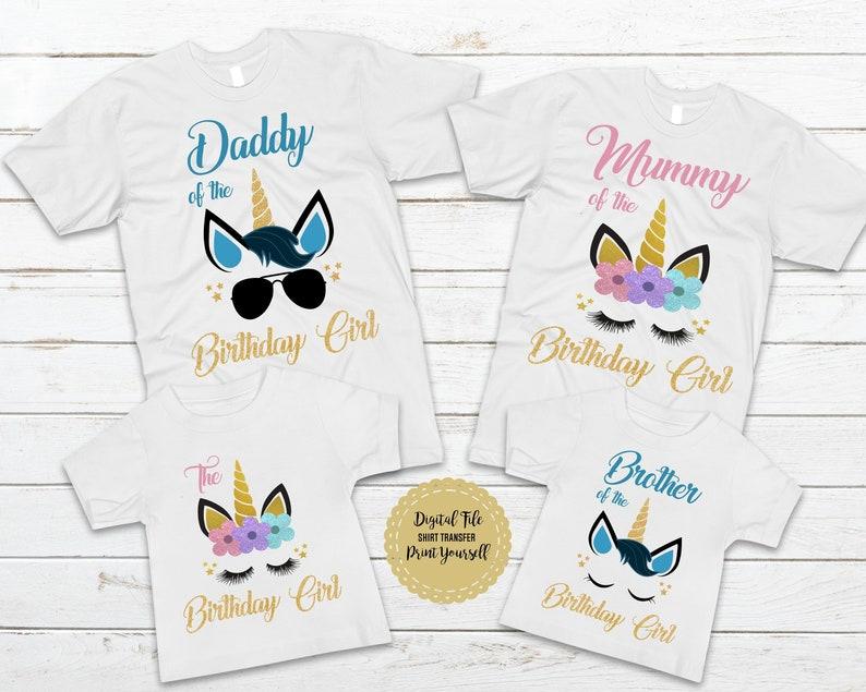 Unicorn Birthday T Shirts Family Iron On Transfer