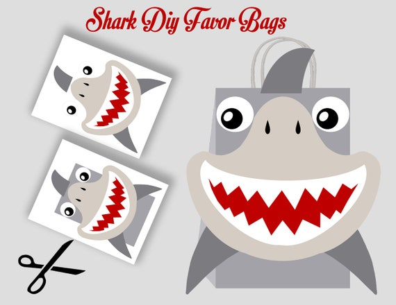 Shark Favor Bag Template Party Bags Printable