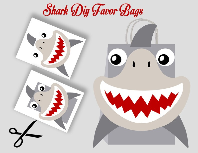 graphic about Printable Shark Template titled Shark Prefer Bag, Shark Template, Shark Bash Luggage Printable, Shark Do it yourself Present Bag, Shark Birthday Printable, Electronic Documents (Oneself Print)