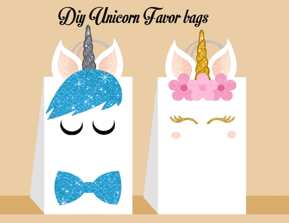 Unicorn DIY Favor Bag Template Party Bags Printable