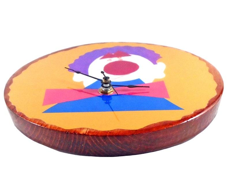 Happy Clown Clock/Fantasque /Handmade/Children's Art/Home Décor/Kid's Drawing/Nursery/Solid Wood/Colorful/Artwork Clock