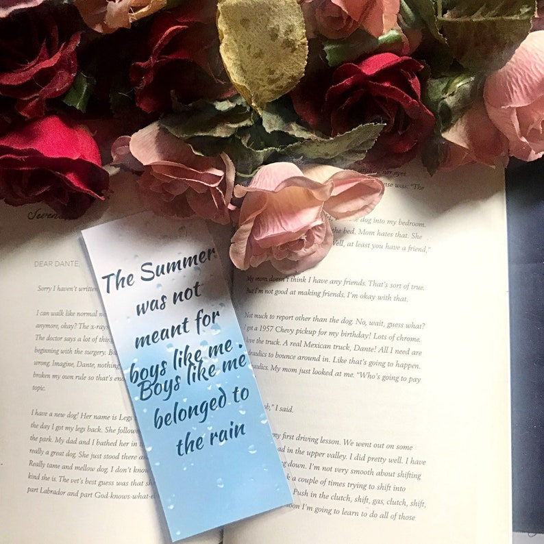 Aristotle and Dante Discover the Secrets of the Universe Bookmarks - Boys  like me belonged to the Rain - Benjamin Alire Saenz