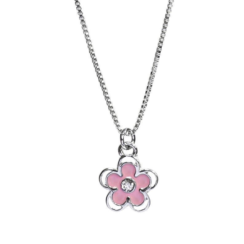 Girl Baptism Choose the Right Pink Flower necklace and bookmark set