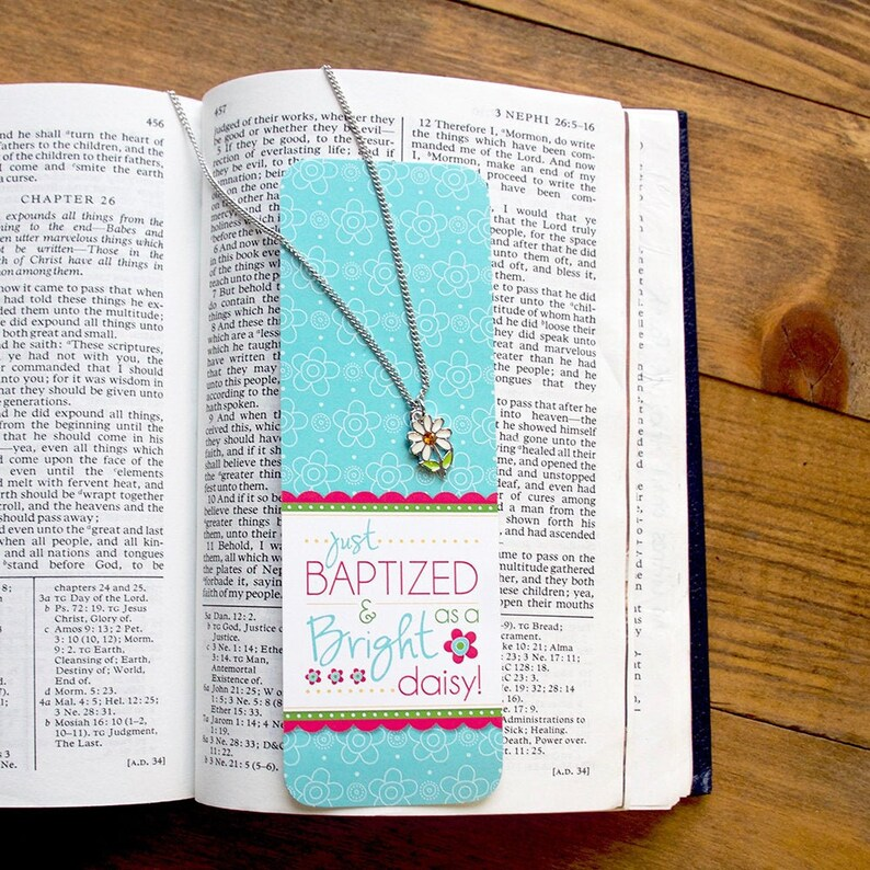Just Baptized and Bright as a Daisy Flower necklace and bookmark set Girl Baptism gift