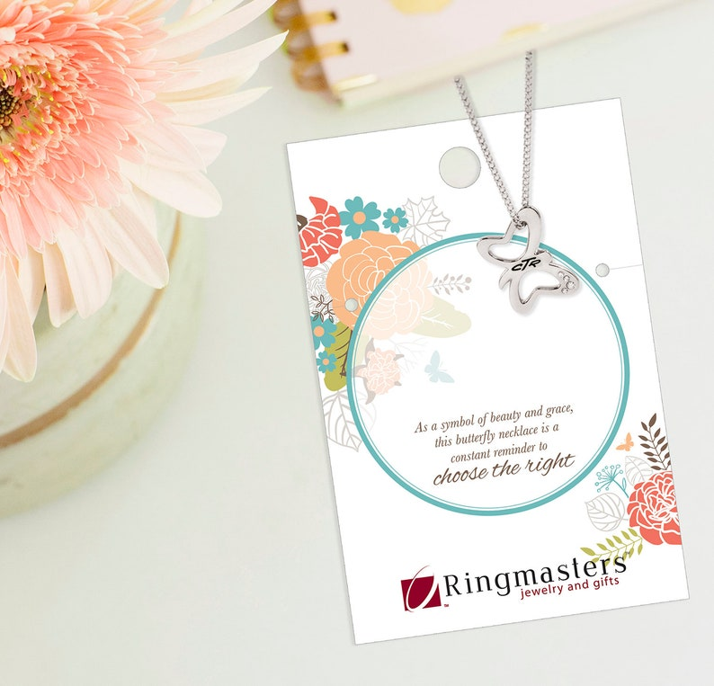 CTR Dainty Butterfly Necklace perfect for baptism or young women the church of Jesus christ of latter day saints