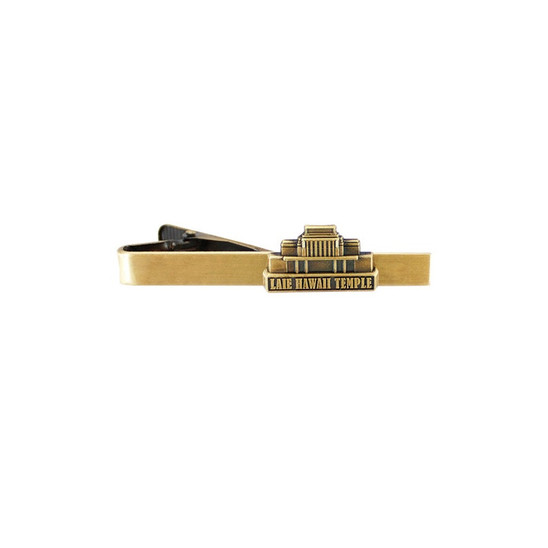 Laie Hawaii Temple Tie Bar Silver or Gold Finish