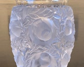 1950 s - 1970 s Lalique France Glass Finch Bird Vase