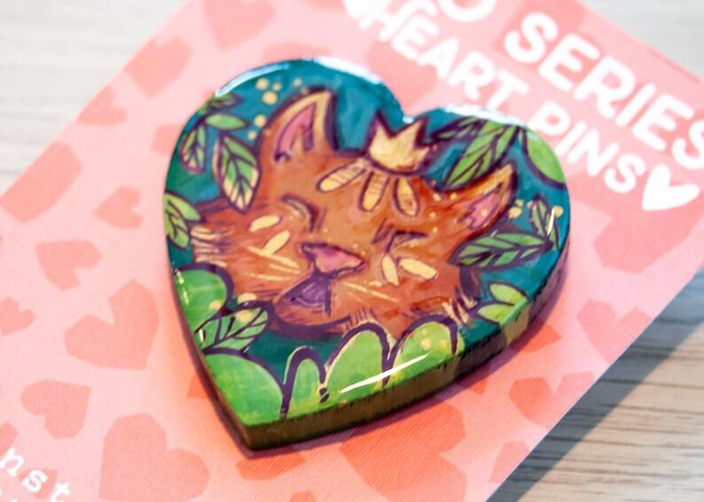 XOXO series Tiger King Heart Shaped Wooden Pin