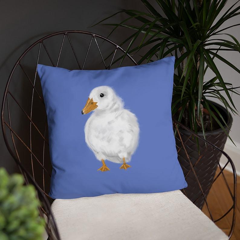 Cute Fluffy White Duck Print Pillow